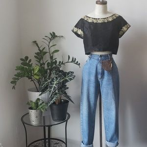 Handmade Cropped Embroidered Black and Gold Top